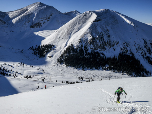 Christy Mahon in the inaugural Father Dyer Postal Route ski mountaineering race, East Ball Mountain