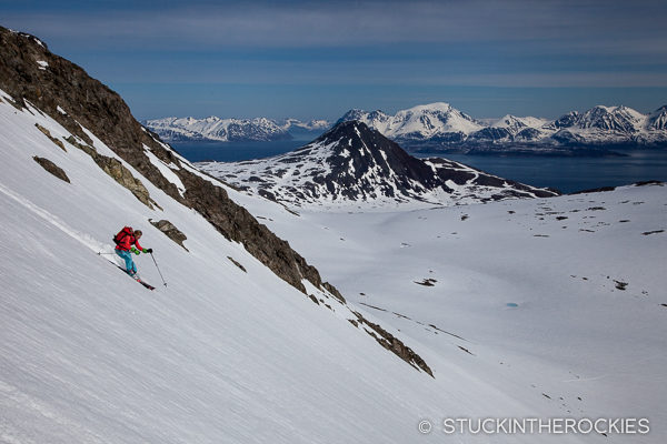 Kir Newhard skiing in the Northern Lyngen Alps