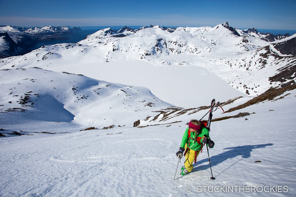 Christy Mahon climbing Store Hesten on Senja, Norway.