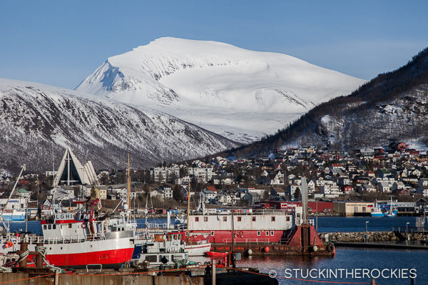 Tromsdalstinden as seen from downtown Tromso