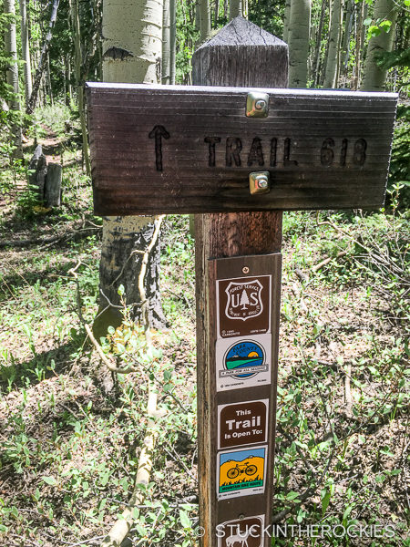 Salt Creek Trail signs on the Buffalo Peaks Loop