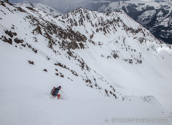 Andy Docken skis the East Face of Castle Peak