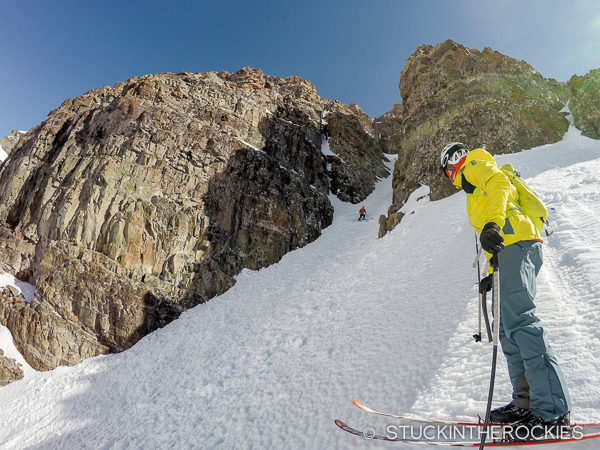Skiing the South Face of Castle Peak.
