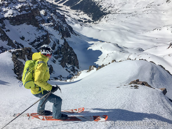 Pete Gaston skiing the South Face of Castle Peak.