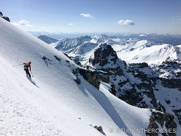Max Taam skiing the South Face of Castle Peak.
