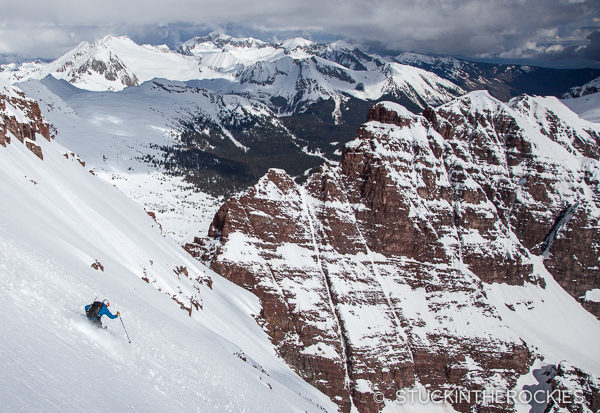 Chris Davenport skiing the North Face of North Maroon Peak.