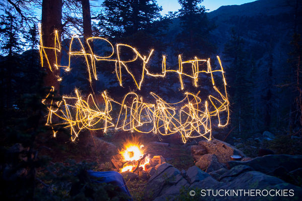 Some pre-4th of July sparkler fun at the campfire.
