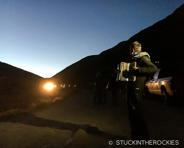 Rickey Gates waits at Grouse during the Hardrock 100