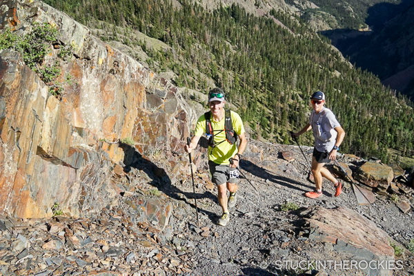 Ted Mahon and Pete Gaston in Bear Creek at the Hardrock 100