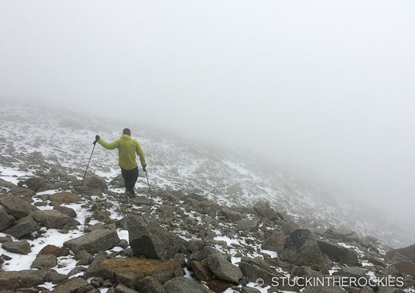 Ted Mahon descends Mount Massive during Nolans 14