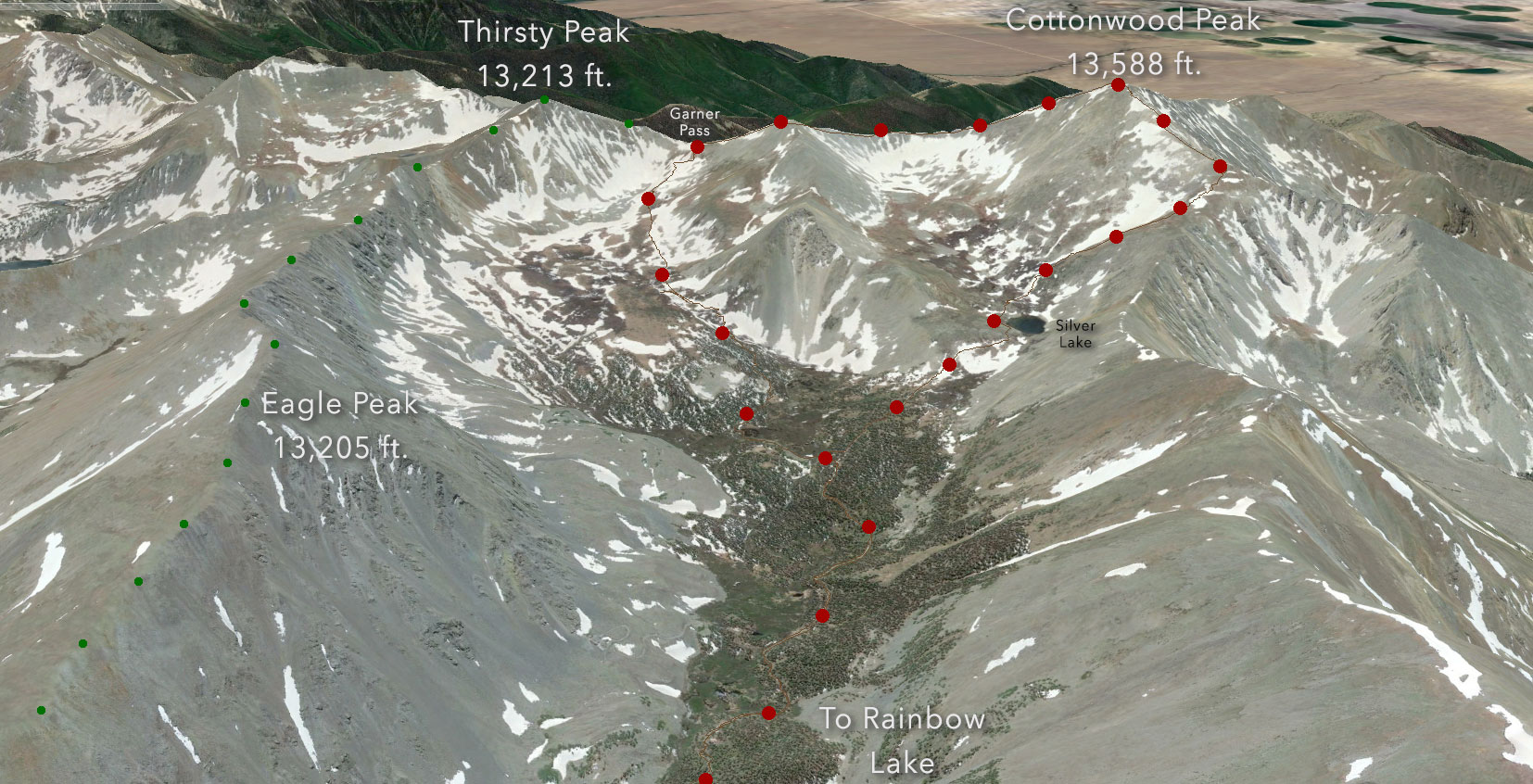 Google Earth overview of our Cottonwood Peak loop.