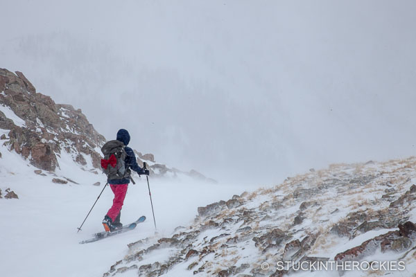 Christy Mahon ski touring in Pearl Basin
