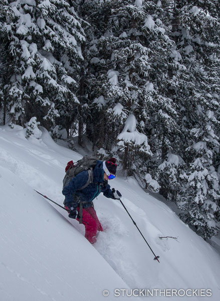 Backcountry skiing at Green-Wilson Hut