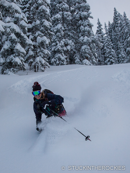 Christy Mahon backcountry skiing in the Raggeds