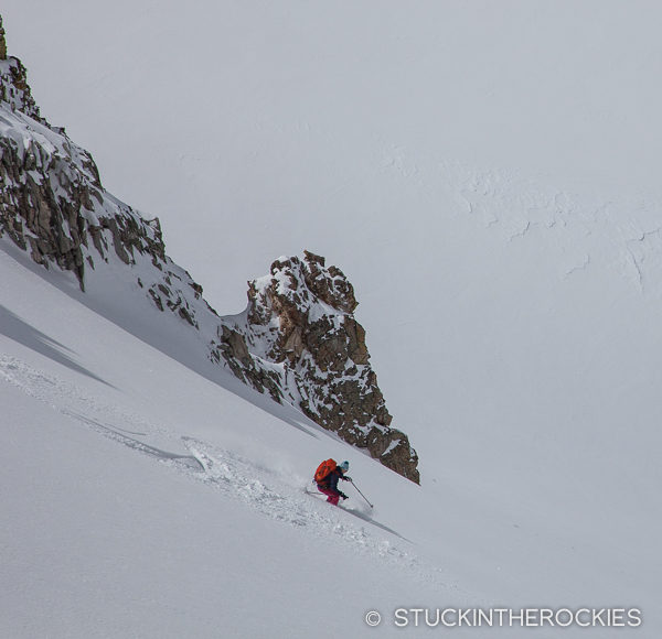 powder skiing by lindley hut
