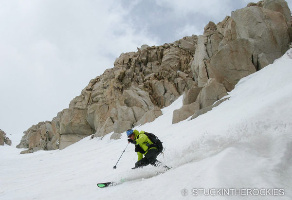 Ted Mahon skiing Mount Langley's Northeast Couloir