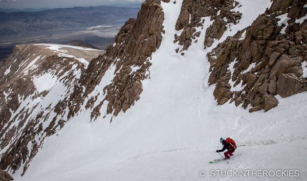 Christy Mahon skis Mouint Langley's Northeast Couloir