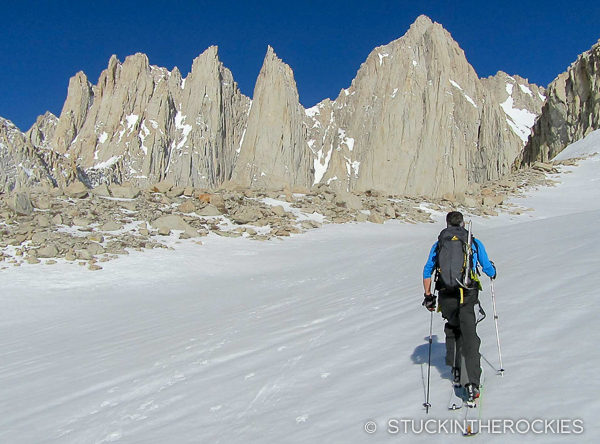 Approaching the East Face of Mount Whitney. The summit is the high point in the photo, the Mountaineer's Route is to the right of the summit.