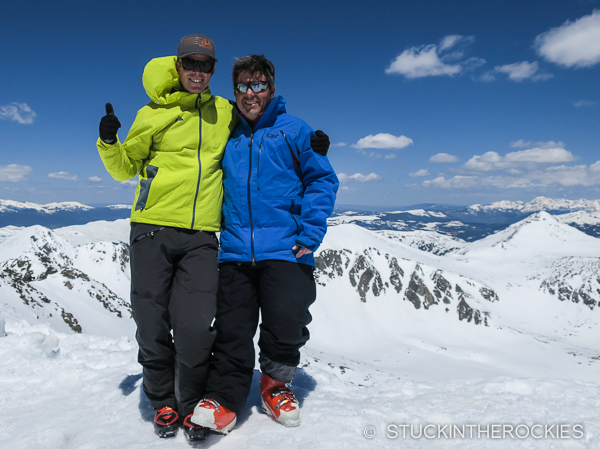 Ted Mahon and Scott Martin on the summit of Quandary Peak