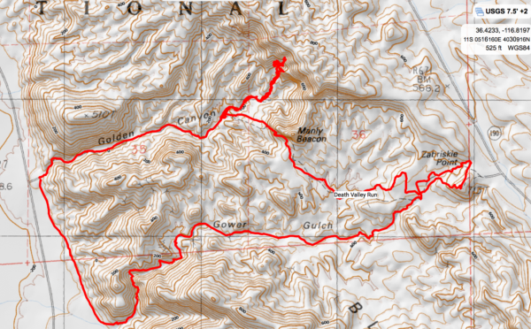 Death Valley trailrun map