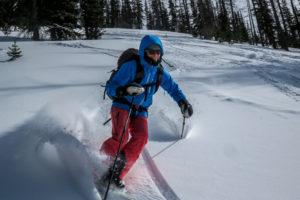 Christy Mahon skis Hahn's Peak