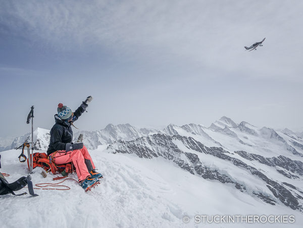 Getting buzzed by an airplane on the summit of the Jungfrau.