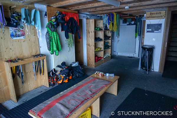 Gear room in Hollandia Hut