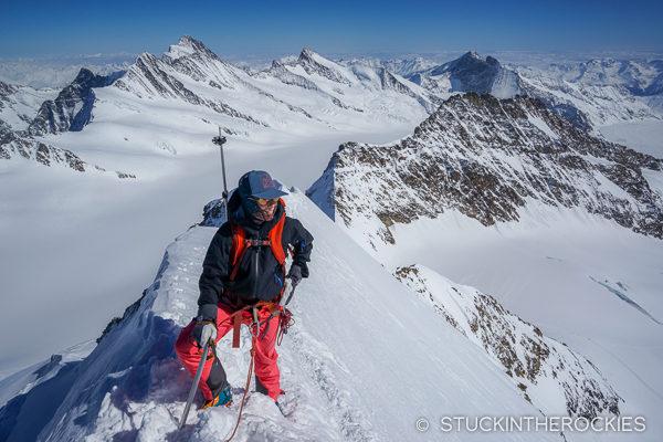 Christy Mahon climbing the Monch.