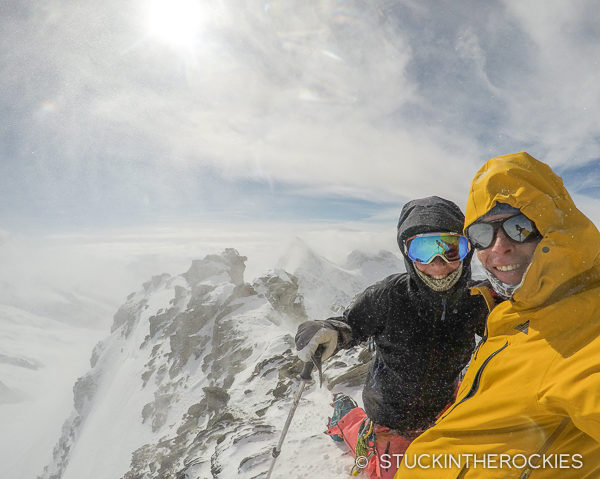 Christy and Ted Mahon on the summit of the Hinter Fiescherhorn