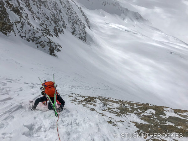 Descending the Fiescherhorn saddle