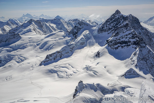 Jungfrau and Jungfraujoch from the summit of the Monch