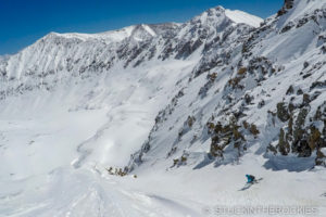 Skiing the Crack Couloir of Mount Tweto.