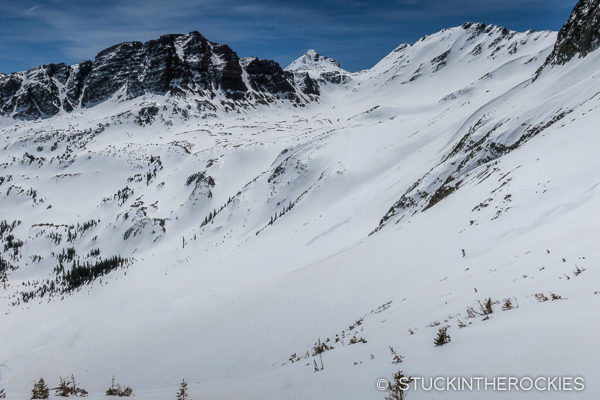 Skiing the east side of Snowmass Mountain