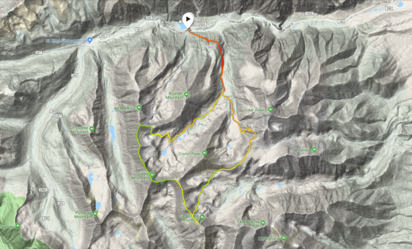 A map of our loop around Cronin Peak