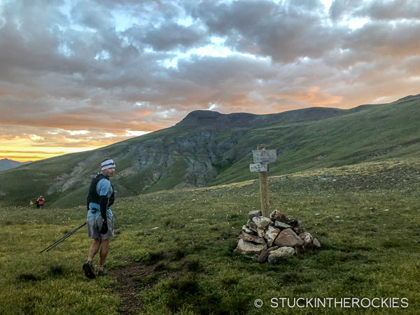 Ted Mahon at Maggie Pole Creek Pass at the Hardrock 100