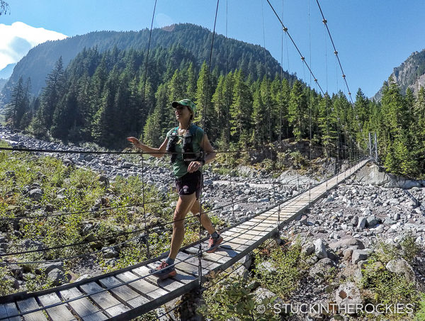 Christy Mahon crossing the Carbon Glacier Suspension Bridge on the Wonderland Trail