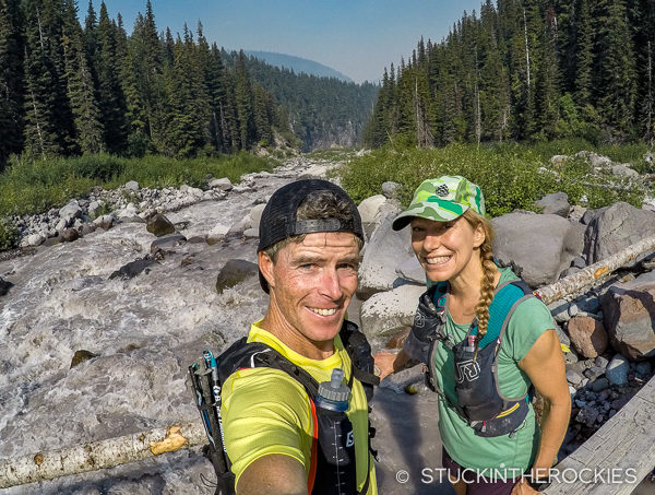 Ted and Christy Mahon crossing Winthrop Creek on the Wonderland Trail