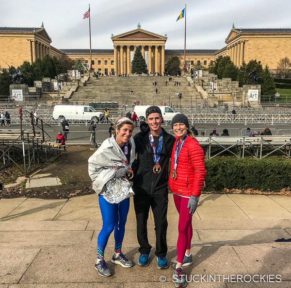 May Selby, Ted Mahon, and Christy Mahon after the Philadelphia Marathon