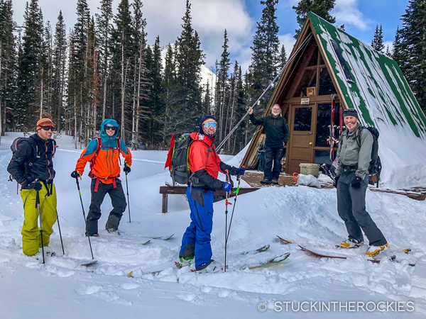 Backcountry skiing at Tagert Hut