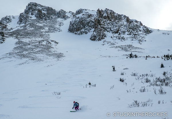 Christy Mahon skiing the Backyard Run from Tagert Hut