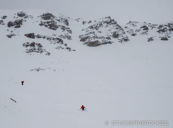 flat light powder skiing