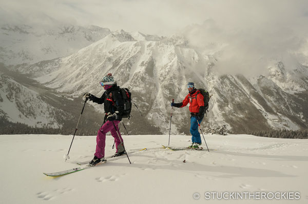 Ski touring above Lindley Hut.
