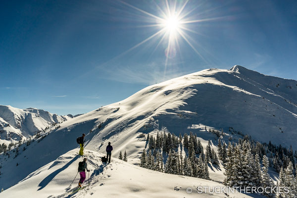 Ski touring up on Garret Peak