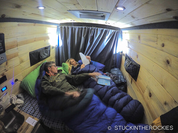 The sleeping arrangement with our Aspen Custom Van