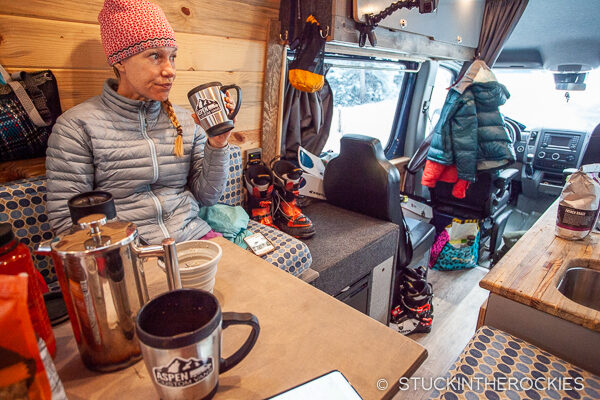 Getting ready in the morning in our Aspen Custom Van