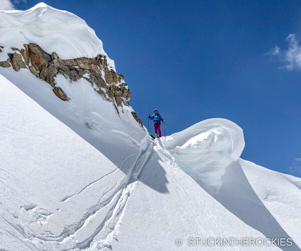 Christy Mahon dropping in to ski Mount Blaurock