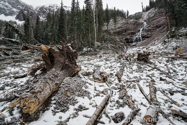 Avalanche debris on the route up to U.S. Grant Peak