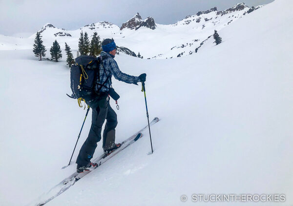 Ted Mahon skinning up towards Ice Lakes Basin