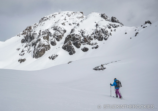 Ted Mahon undertaking a ski descent