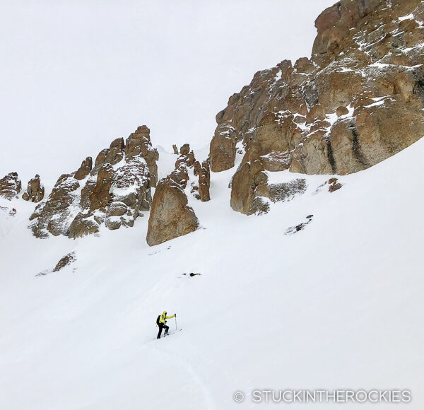 Ted Mahon skinning up U.S. Grant peak